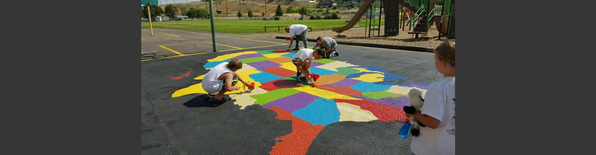 Painted playground map of the United States.