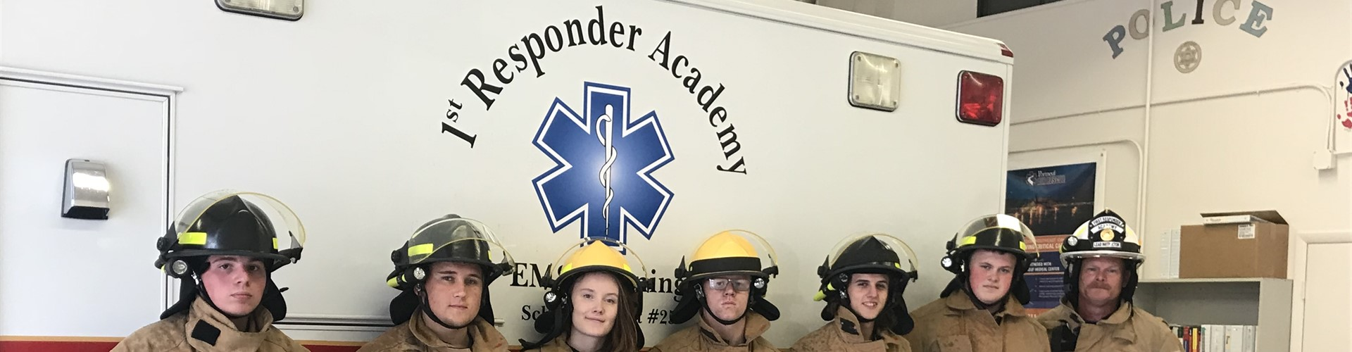 First responders; Fire Safety students,  Instructor Mark Brood.