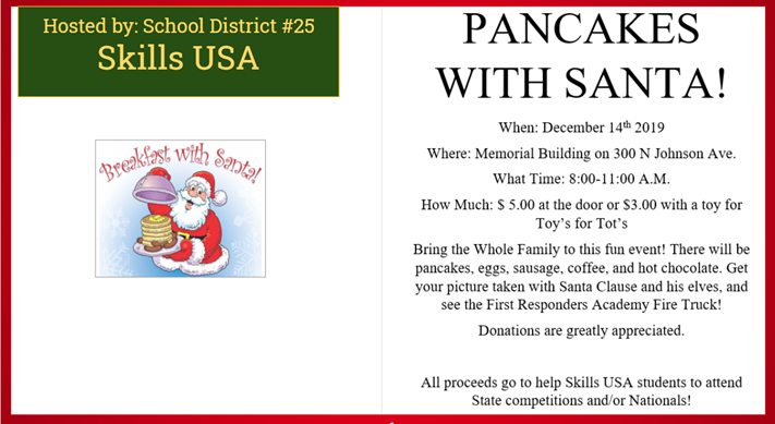Skills USA Pancakes with Santa Fundraiser