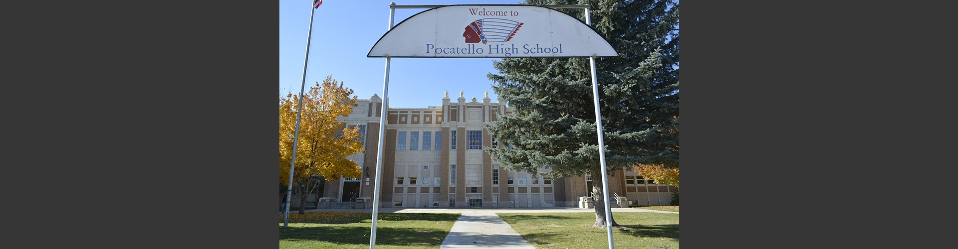 welcome to pocatello high school sign in front of school